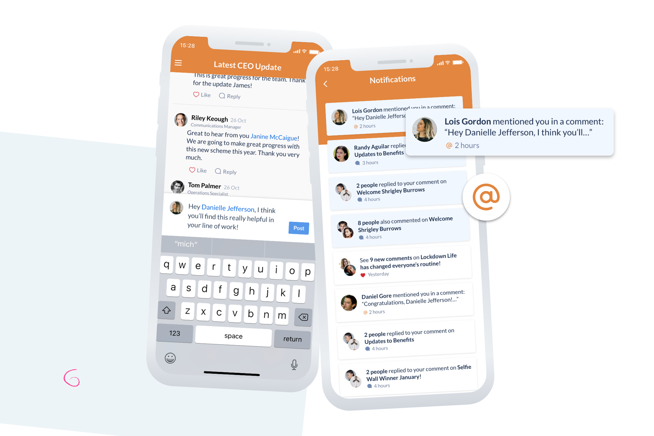 new @mentions features on Thrive.app
